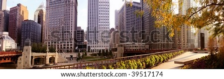 Dramatic Image of the Chicago River - stock photo