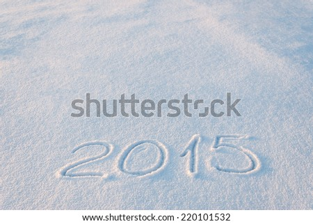 2015 draw on snow, place for your text - stock photo
