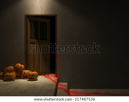 3ds rendered image of wooden door and cracked concrete wall, pumpkin heads, blood on wooden floor,Background for halloween day
