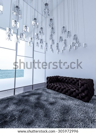 3ds rendered interior white high ceiling living room which have a lot of lamps hanged from ceiling,wooden wall,dark wooden floor