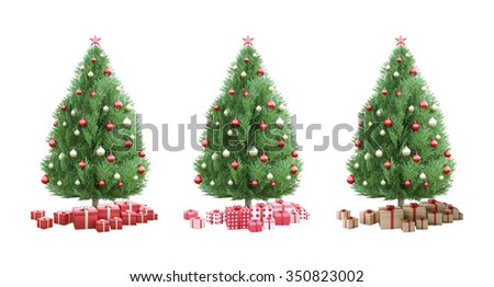 3Ds rendered of christmas tree which decorated by golden and red ball and gift boxes. Isolated on white background. happy new year and merry christmas concept - stock photo