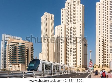 'DUBAI, UAE - NOVEMBER 19: Dubai opened its first Tram service from Dubai Marina to Al Sufouh area on November 11, 2014. November 19, 2014, in Dubai, UAE. - stock photo