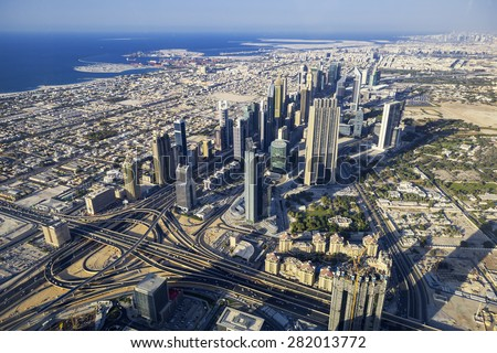 DUBAI, UEA-NOVEMBER 27,View on Dubai from the highest tower in the world, Burj Khalifa (828 metres) on November 27,2014 - stock photo