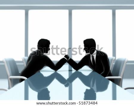 Duel between two businessmen. - stock photo