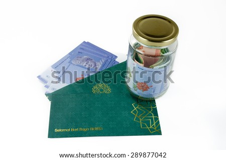 'Duit Raya' is money given from adult to children during Eid al-Fitr celebration in Malaysia. Parents usually take it and save it for children's future (eduction, emergency fund, etc.)