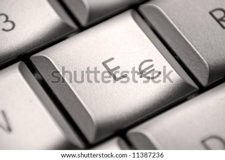 € / E key on a german laptop - stock photo