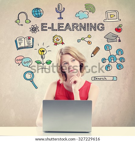 E-learning concept with young woman working on a laptop  - stock photo