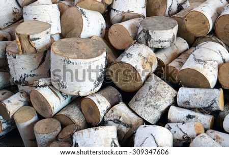 ?eap of birch logs - stock photo