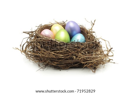 Easter eggs in real bird nest on white