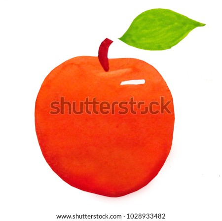 Easy Watercolor Paintings To Copy Red Apple With Green Leaf On White Background