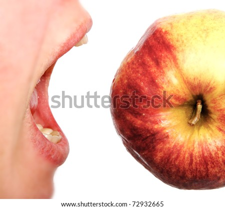 Eating of apple.