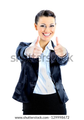 Ã?Â??eautiful business woman specifies the thumbs up. Isolated on a white background. - stock photo