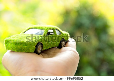Eco car icon concept - stock photo
