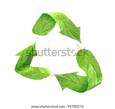 Eco Recycling symbol of green leaves - stock photo