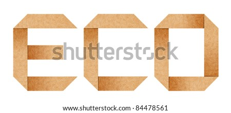 """ECO"" word from Origami paper letters isolated with clipping path"