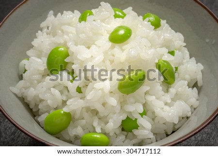 EDAMAME Green soybeans rice Japanese foods - stock photo
