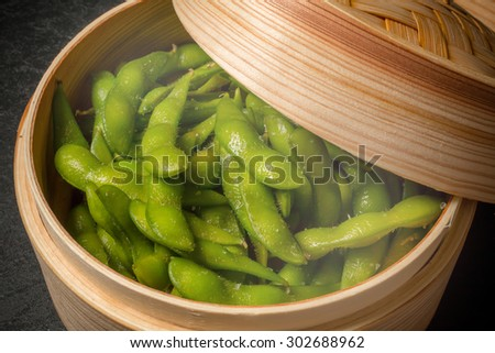 EDAMAME The green soybeans Japanese food  steamed - stock photo