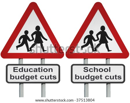 Education, school budget cutbacks concept roadsign, isolated on white background - stock photo