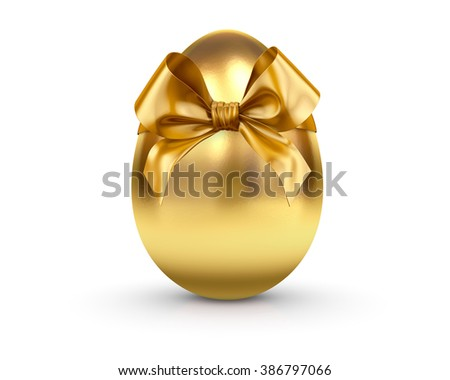 egg tied a gold ribbon with a bow 3d render