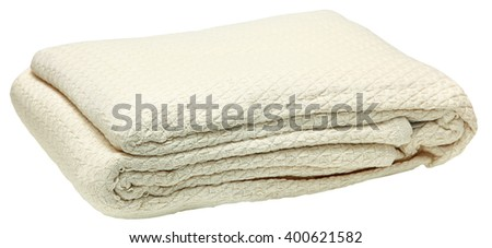 100% Egyptian Cotten Blanket Hotel Folded isolated over white.