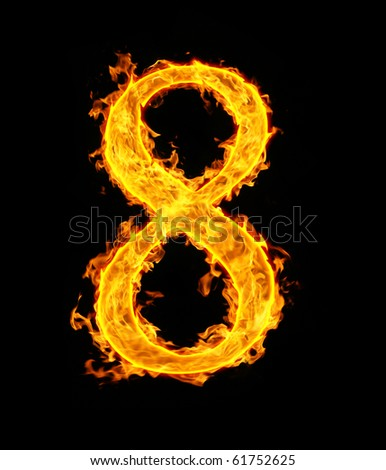 8 (eight), fire figure - stock photo
