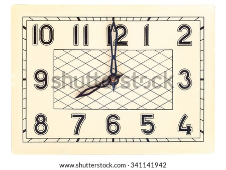 Eight o'clock on rectangular art deco design clock face isolated over white - stock photo