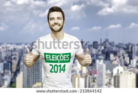 2014 Election in Brazil (Portuguese: Eleicoes 2014) Campaign by a man in the city