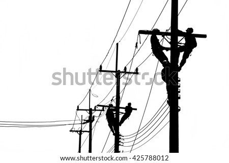 Electrician works in the height. Electrician black and white picture. - stock photo