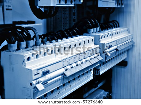 stock photo electricity distribution box with wires and circuit breakers fuse box 57276640 electrical fuse stock images, royalty free images & vectors fuse box circuit builder at sewacar.co