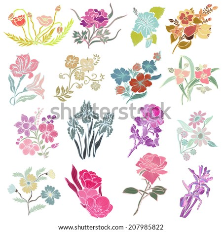 16 elegant decorative flowers, design elements. Floral branches. Floral decorations for vintage wedding invitations, greeting cards, banners.