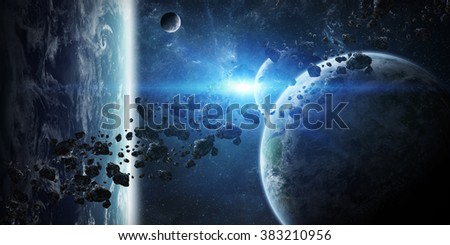 'elements of this image furnished by NASA 'View of a sunrise on a distant planet system in space - stock photo