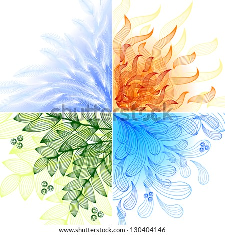 4 elements. Set of four beautiful backgrounds. Raster version. Vector is also available in my gallery - stock photo