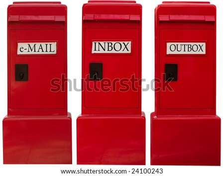 3 EMAIL BOXES WITH THE WORDS INBOX OUTBOX AND E-MAIL ON THEM WITH CLIPPING PATHS FOR EACH INDIVIDUAL BOX