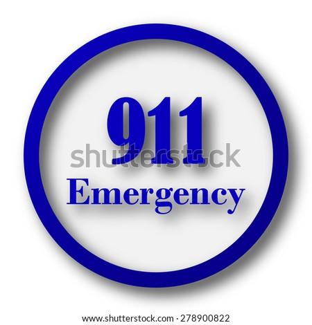 911 Emergency icon. Blue internet button on white background.  - stock photo