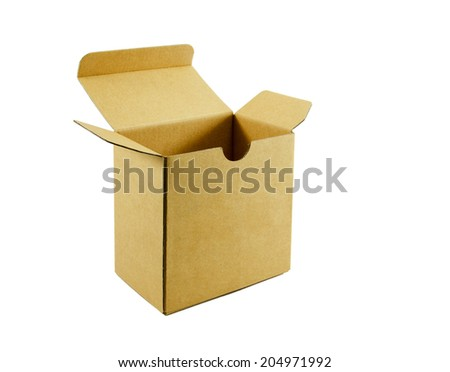 empty cardboard box, isolated on white background. - stock photo