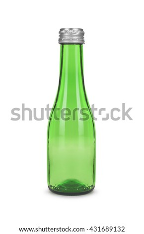 empty green wine bottle on white background