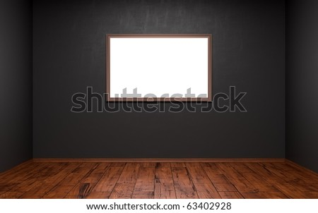 Empty picture in a dark room - stock photo