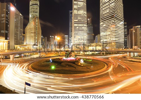 Empty road floor with city landmark office buildings backgrounds of night scene in shanghai China  - stock photo