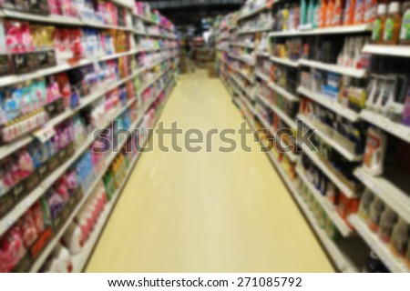 Empty supermarket aisle, Motion Blur background, grocery chain in Thailand, the chain is operated under the name Tops Supermarket by the Central Food Retail.
