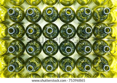 48 empty wine bottles - stock photo