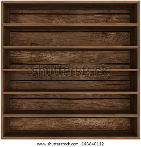 empty wooden bookshelf. 3d - stock photo