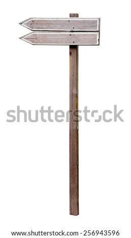empty wooden sign on white background.