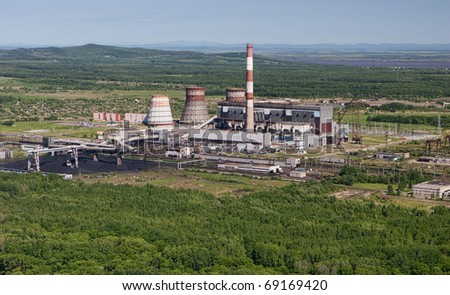 Energy,  Oil factory shooting from the helicopter -  Aerial View. - stock photo