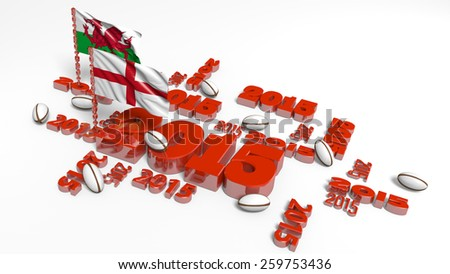 2015 England and Wales Flags with balls on a White Background