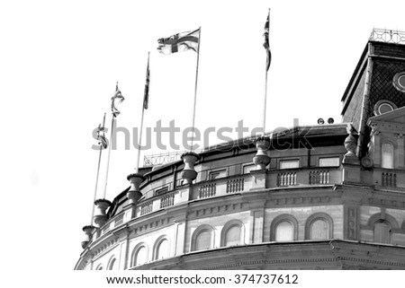 english flag in the wall and sky - stock photo