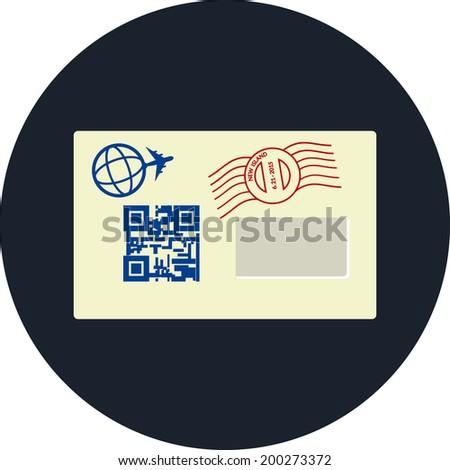 Envelope  flat icon - stock photo