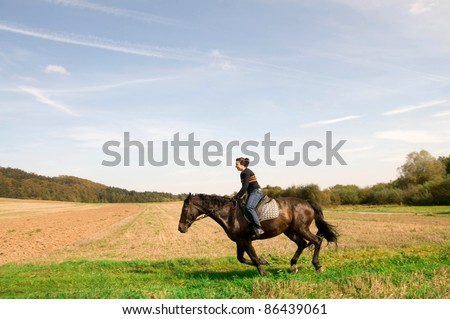 Equestrienne rides on the hillside. Hanoverian - stock photo