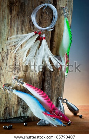 ,equipment from fisherman with fly fishing, - stock photo