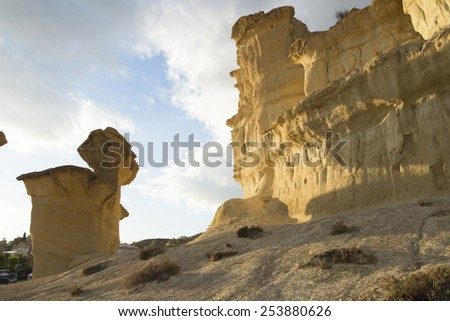 erosion on sandstone on Bolnuevo beach, Mazarron, Murcia, Spain