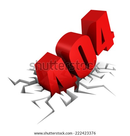 404 error message letters falling crack in the ground. 3d render illustration - stock photo